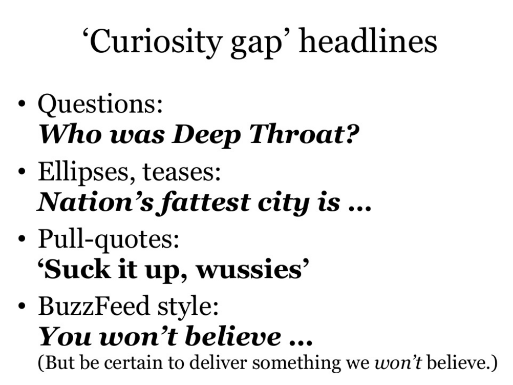 Curiosity gap headlines