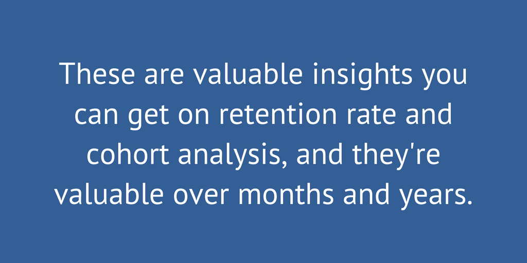 Retention rates and cohort analysis are valauble over months and years.