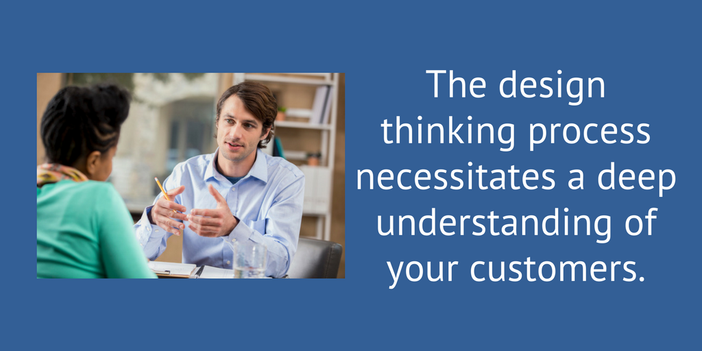 The design thinking process necessitates a deep understanding of your customers.