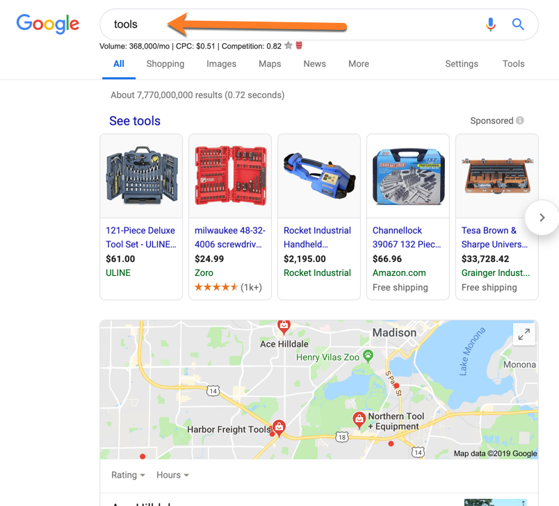 Non-branded search doesn't contain brand name.