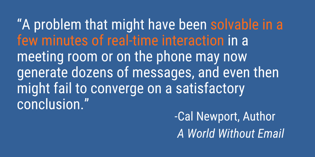 A problem that might have been solvable in a few minutes of real-time interaction may now generate dozens of messages.