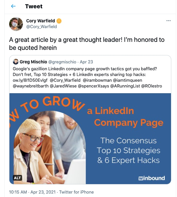 Cory Warfield sharing tweet